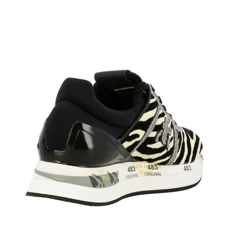 Sneakers Premiata: Sneakers Liz Premiata in tessuto stampa zebra e glitter avorio 5