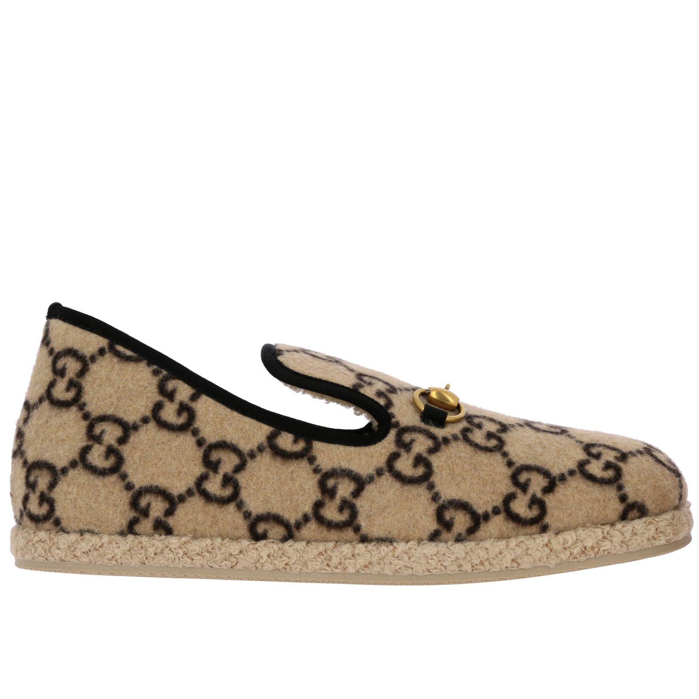 Обувь Gucci: Мокасины Gucci из шерсти GG Supreme с пряжкой белый 1