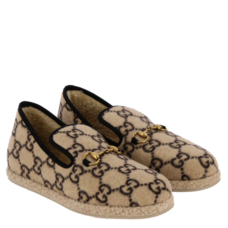 Обувь Gucci: Мокасины Gucci из шерсти GG Supreme с пряжкой белый 2