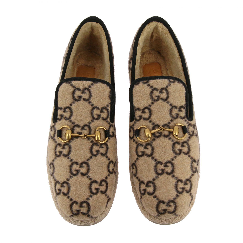 Обувь Gucci: Мокасины Gucci из шерсти GG Supreme с пряжкой белый 3