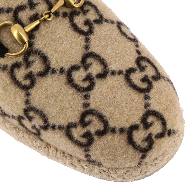 Обувь Gucci: Мокасины Gucci из шерсти GG Supreme с пряжкой белый 4