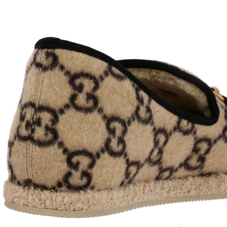 Обувь Gucci: Мокасины Gucci из шерсти GG Supreme с пряжкой белый 5