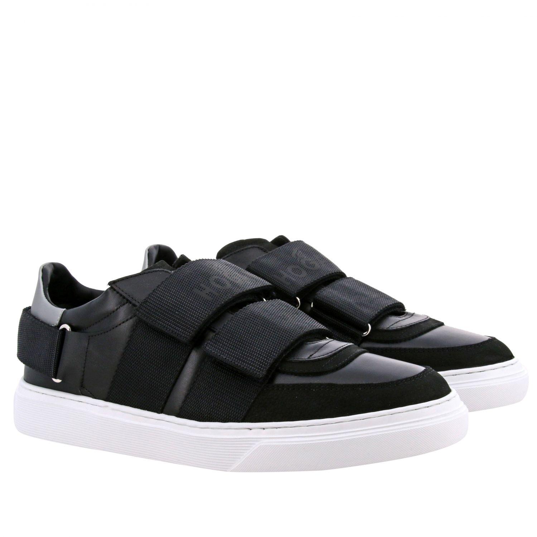 Hogan Sneakers aus Leder mit Schnallen und mehreren Riemen schwarz 2