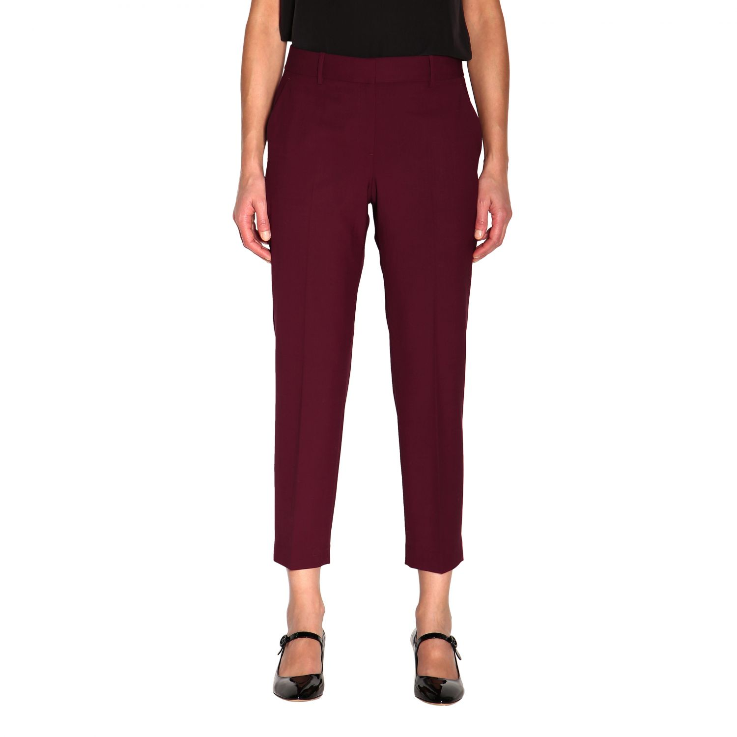 Trousers women Theory burgundy 1