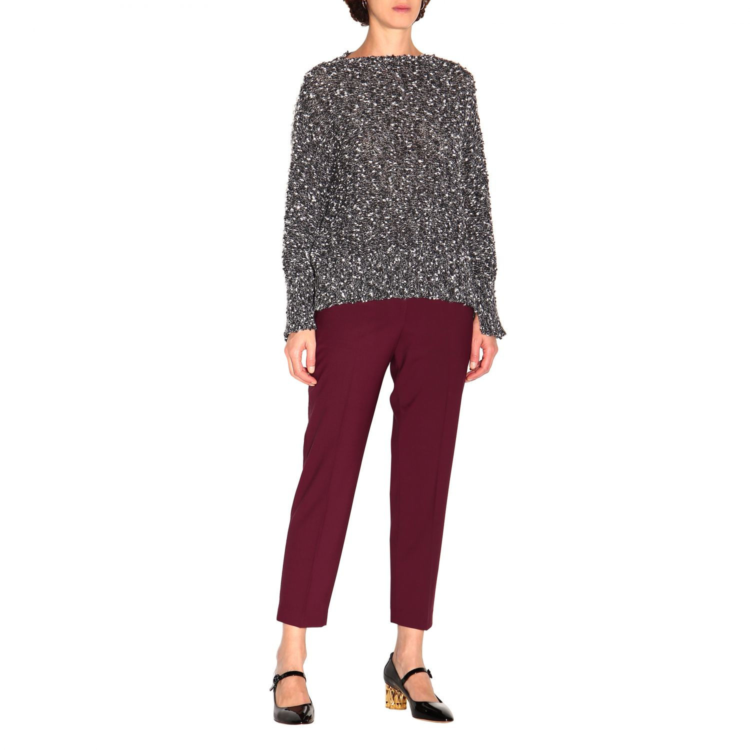 Trousers women Theory burgundy 2