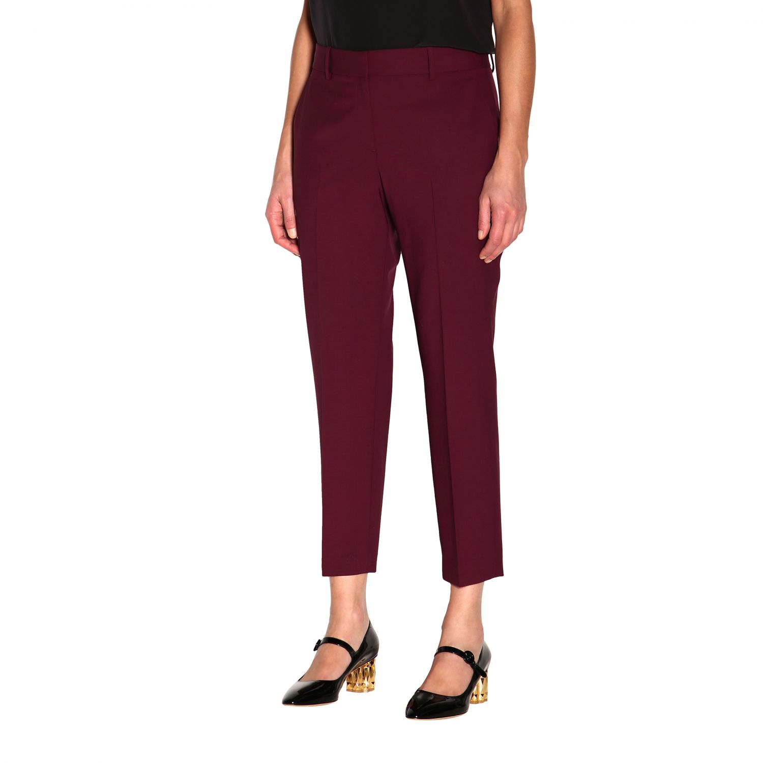 Trousers women Theory burgundy 4