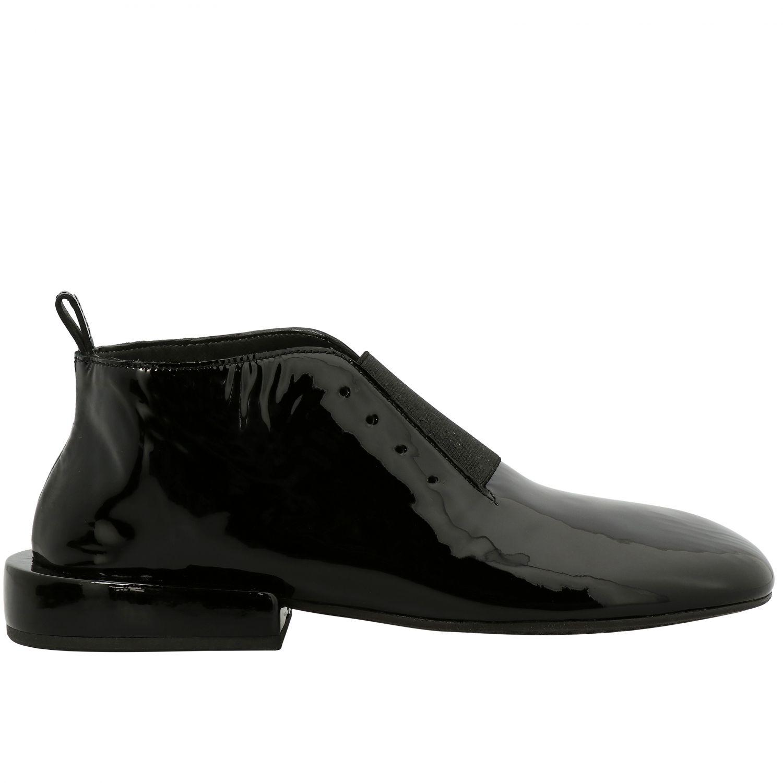 Marsell Megattera Derby aus glänzendem Leder mit asymmetrischem Band schwarz 1