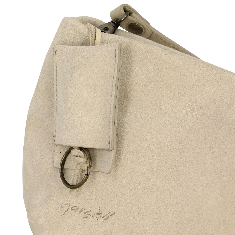 Borsa a tracolla Fantasmino Marsell in camoscio bianco 4