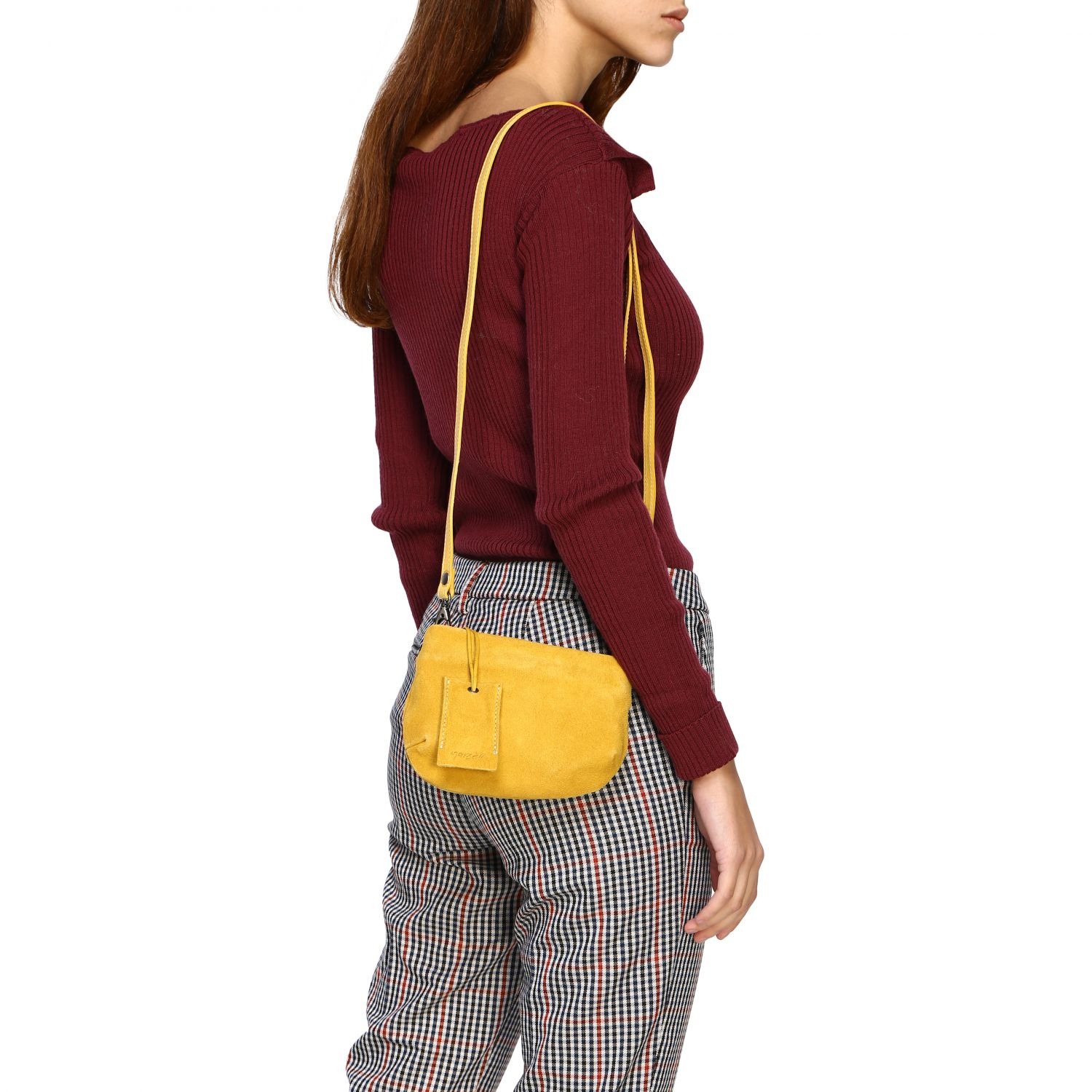 Marsell Fantasmetto shoulder bag in suede yellow 2