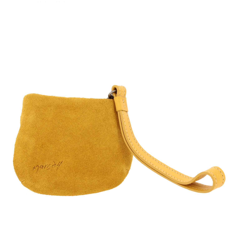 Minifanta wrist bag in real suede yellow 1