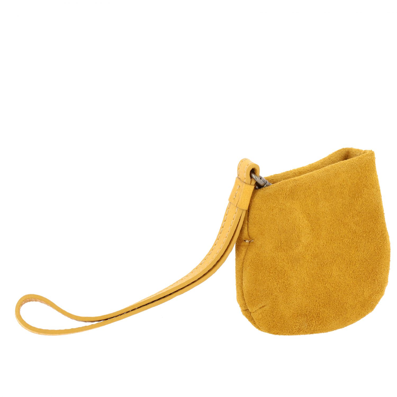 Minifanta wrist bag in real suede yellow 3