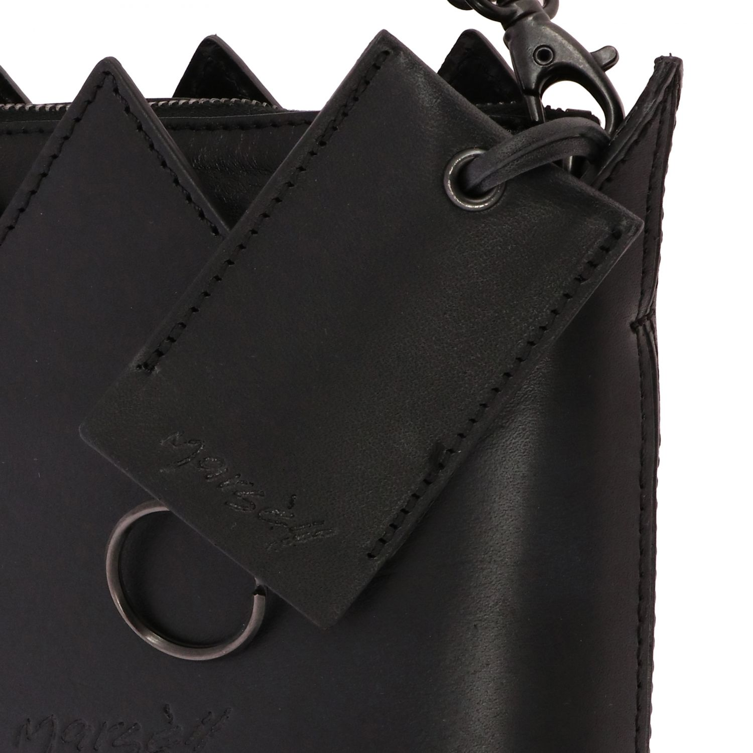 Marsell Mini Corona leather bag with shoulder strap black 4