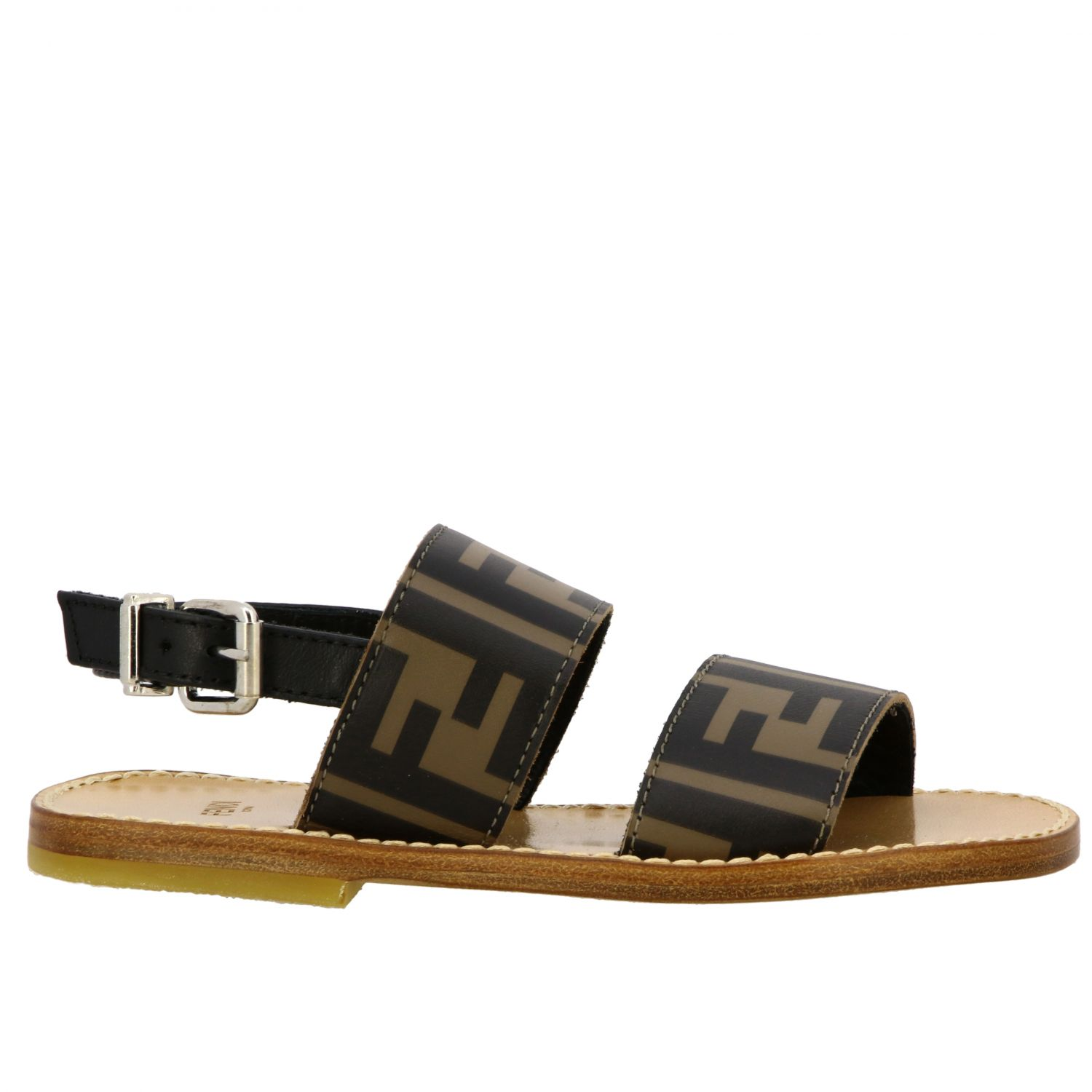 Fendi double band sandal with FF all over monogram black 1