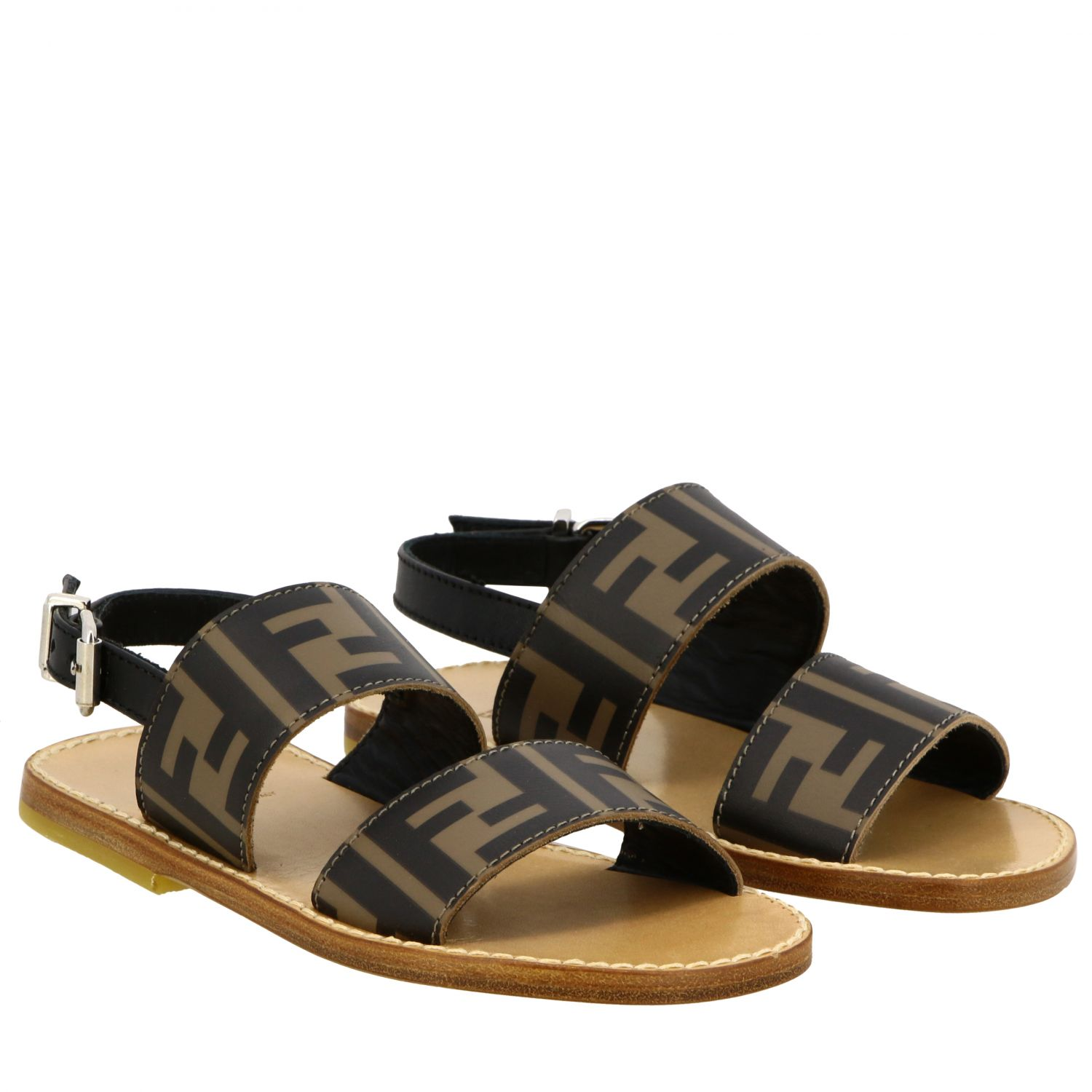 Fendi double band sandal with FF all over monogram black 2