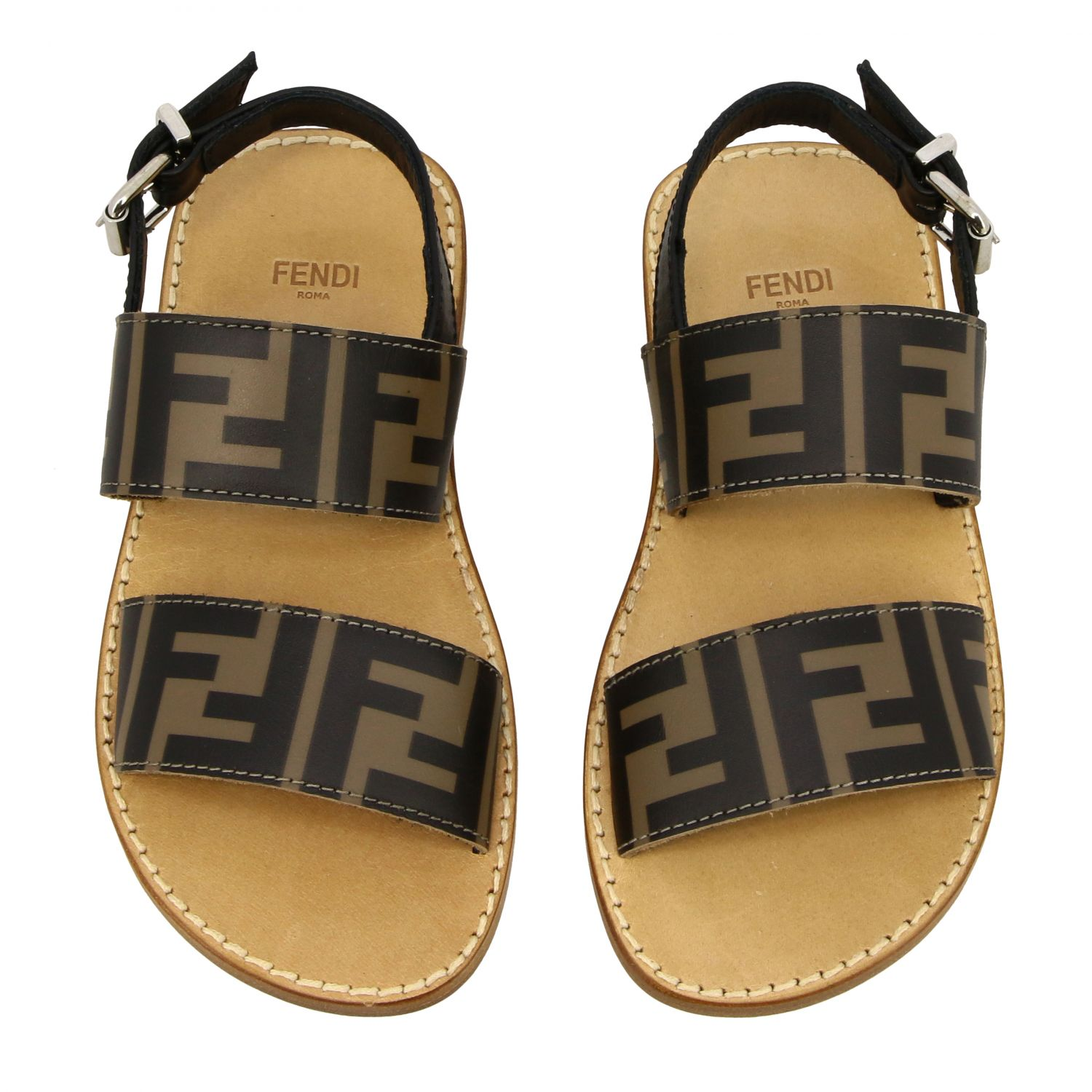 Fendi double band sandal with FF all over monogram black 3