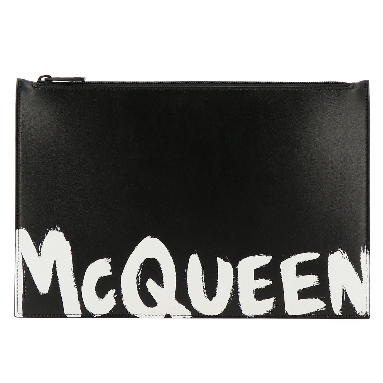 Portafoglio Mcq Mcqueen: Portafoglio Mcq Mcqueen in pelle liscia con big logo bianco 1