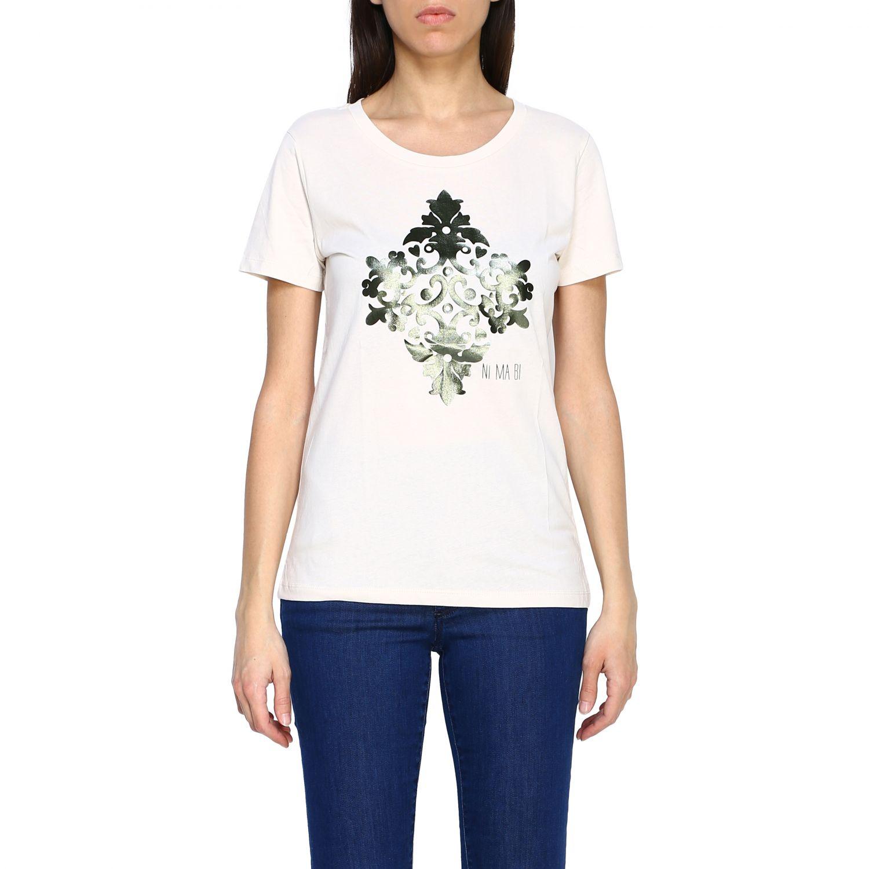T-shirt Maiolica Ni ma bi con stampa laminata panna 1
