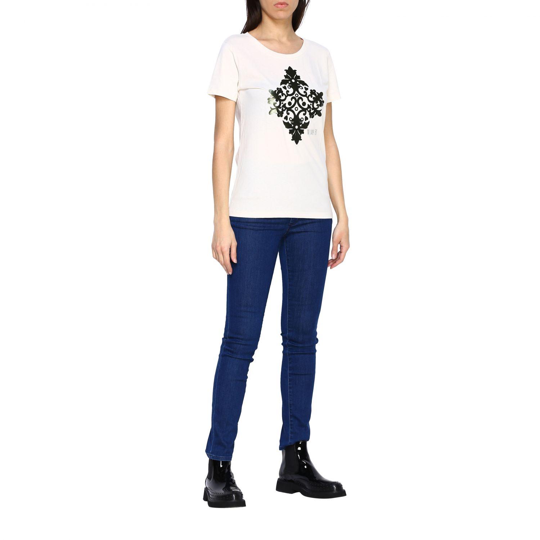 T-shirt Maiolica Ni ma bi con stampa laminata panna 2