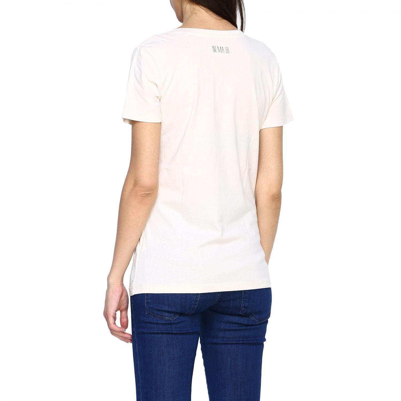 T-shirt Maiolica Ni ma bi con stampa laminata panna 3