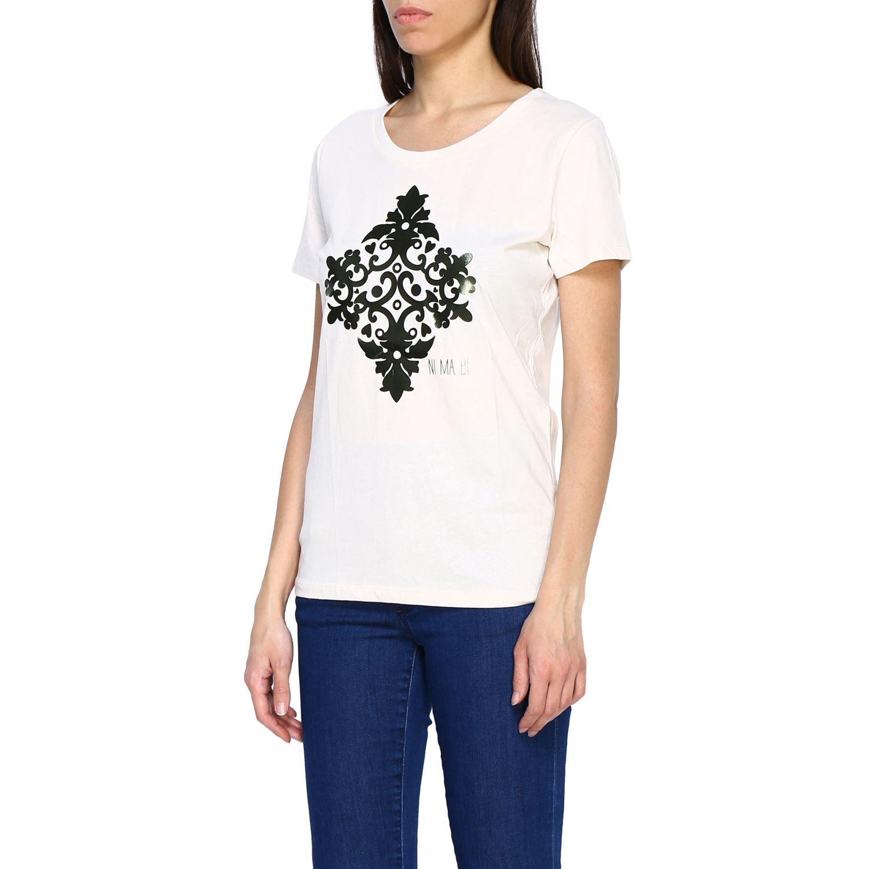 T-shirt Maiolica Ni ma bi con stampa laminata panna 4