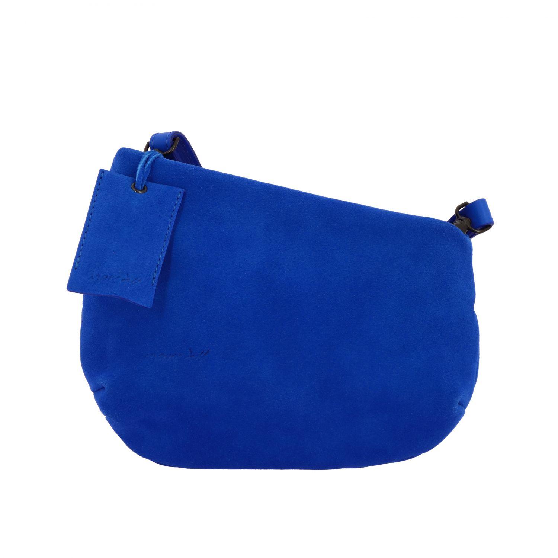 Borsa a tracolla Fantasmino Marsèll in pelle scamosciata blue 1
