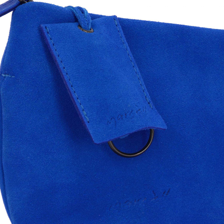 Borsa a tracolla Fantasmino Marsèll in pelle scamosciata blue 4