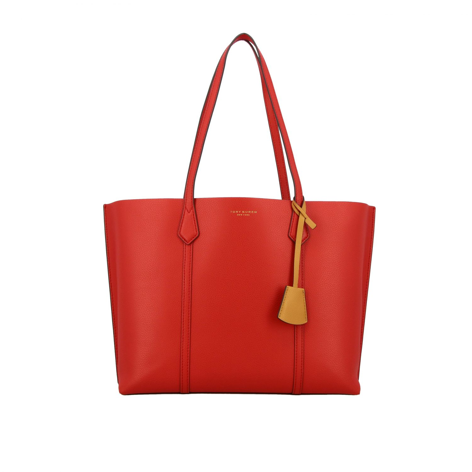 Perry Tory Burch tote bag in textured leather red 1