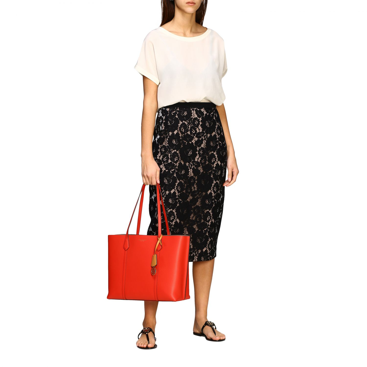 Perry Tory Burch tote bag in textured leather red 2