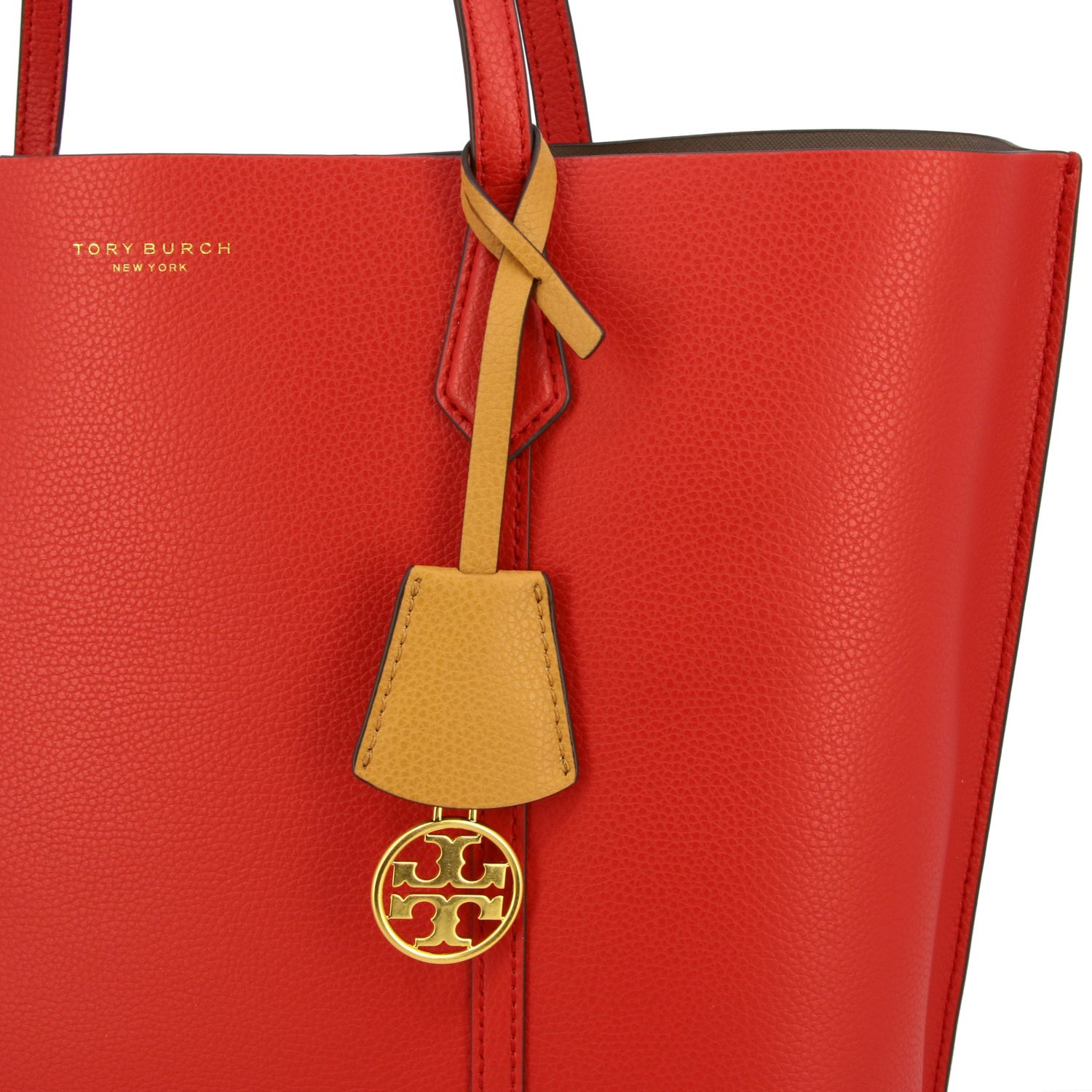 Perry Tory Burch tote bag in textured leather red 4