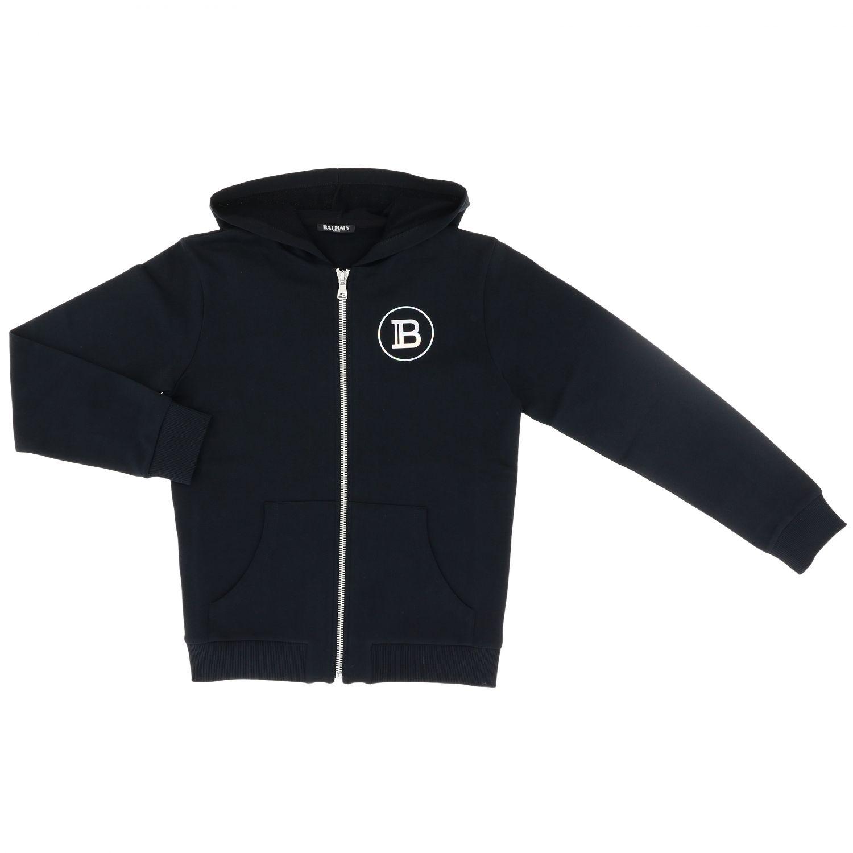 毛衣 Balmain: Balmain logo装饰连帽卫衣 白色 1