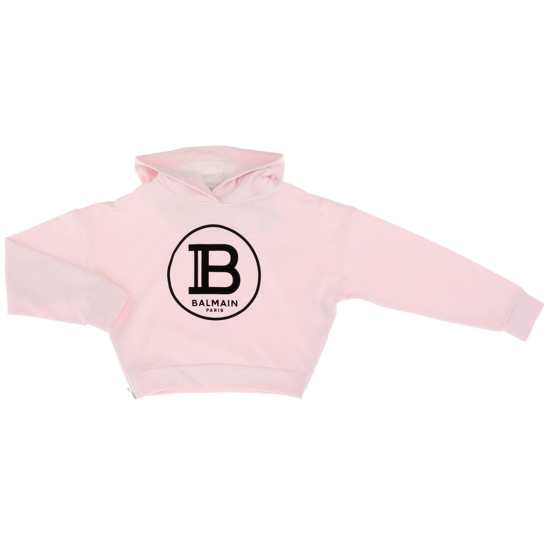 Maglia Balmain: Felpa Balmain cropped con cappuccio e logo rosa 1