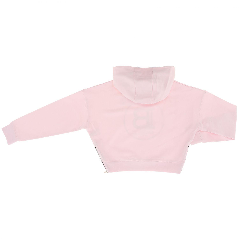 Maglia Balmain: Felpa Balmain cropped con cappuccio e logo rosa 2