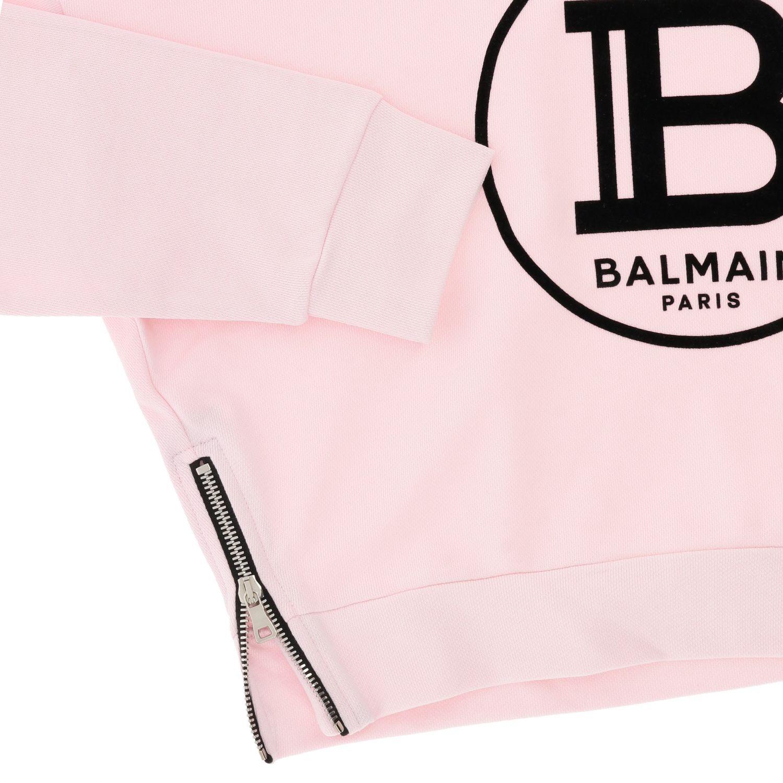 Maglia Balmain: Felpa Balmain cropped con cappuccio e logo rosa 3