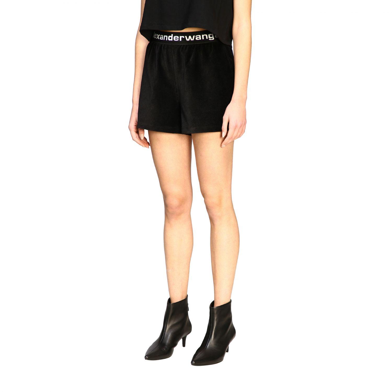 Shorts Alexander Wang con fascia elasticizzata e logo nero 4