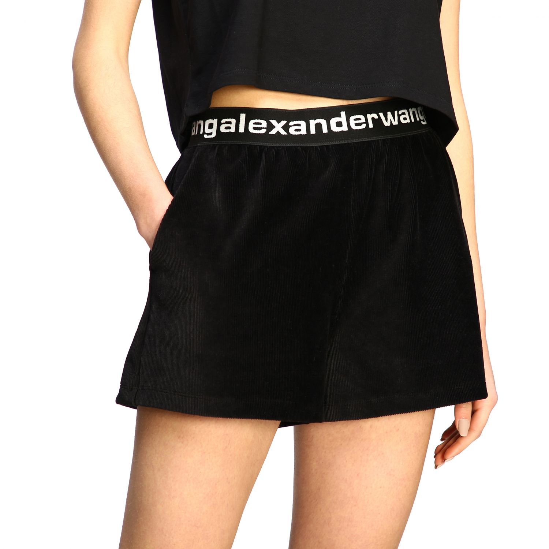Shorts Alexander Wang con fascia elasticizzata e logo nero 5
