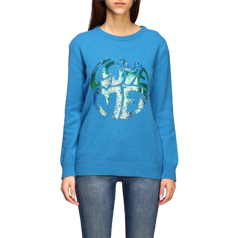 Sweater Alberta Ferretti: Alberta Ferretti sweater with sequin love me writing turquoise 1