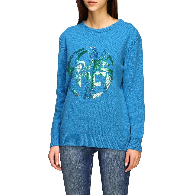 Sweater Alberta Ferretti: Alberta Ferretti sweater with sequin love me writing turquoise 4