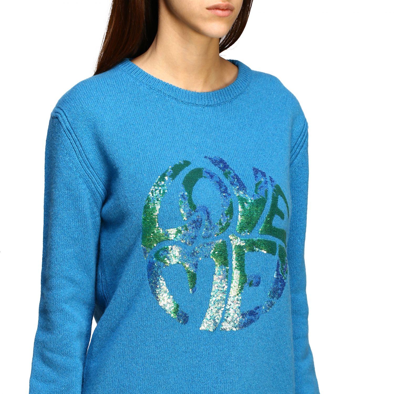 Sweater Alberta Ferretti: Alberta Ferretti sweater with sequin love me writing turquoise 5