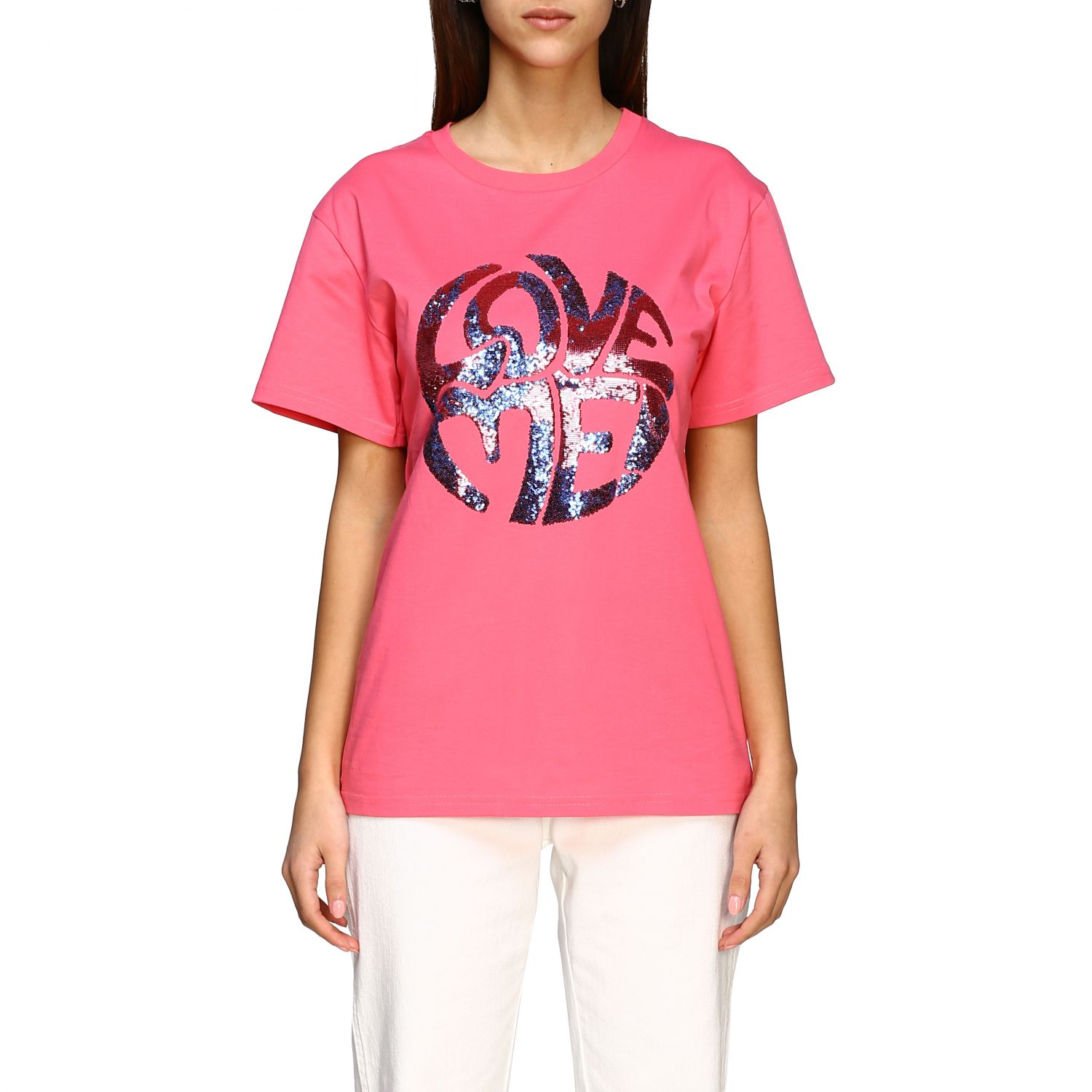 T-shirt Alberta Ferretti: T-shirt Alberta Ferretti avec inscription en paillettes rose 1