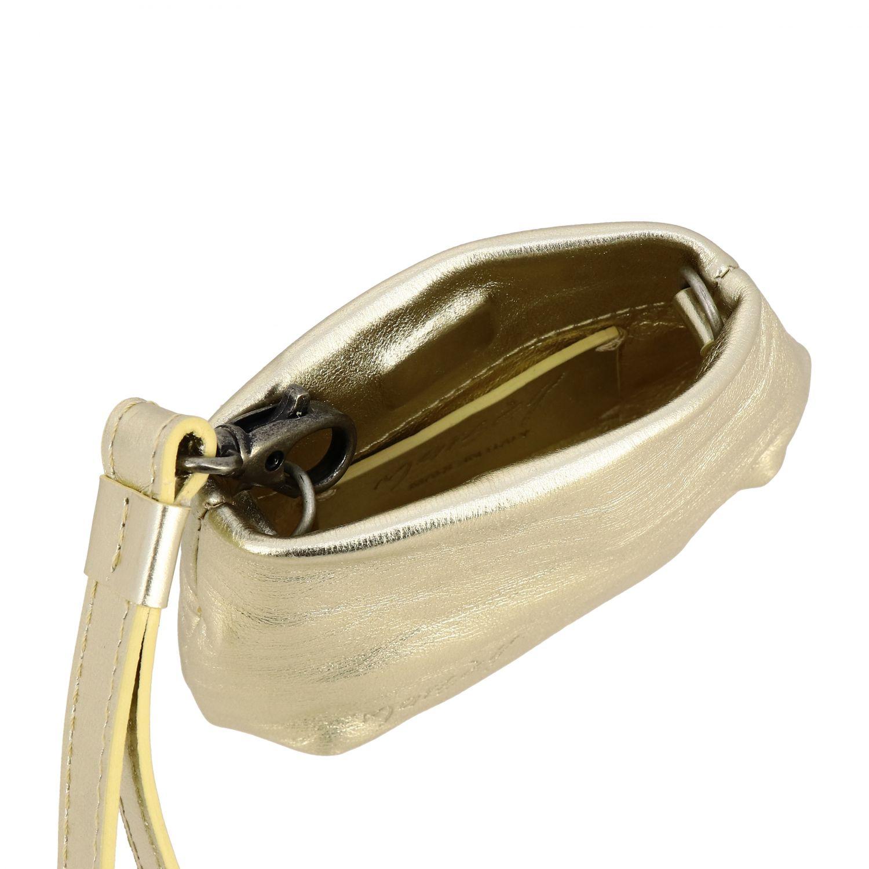 Borsa mini Fanta Marsèll in pelle laminata oro 4