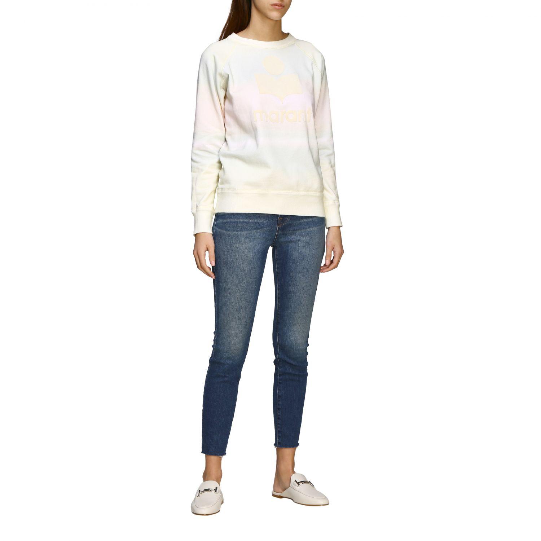 Isabel Marant Etoile Sweatshirt mit Rundhalsausschnitt und Logo gelb 2
