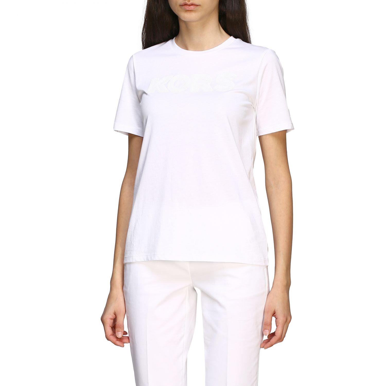 T-shirt Michael Michael Kors con logo di paillettes bianco 4