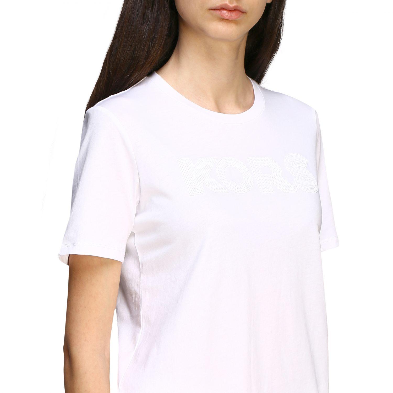 T-shirt Michael Michael Kors con logo di paillettes bianco 5
