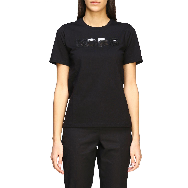 T-shirt Michael Michael Kors con logo di paillettes nero 1