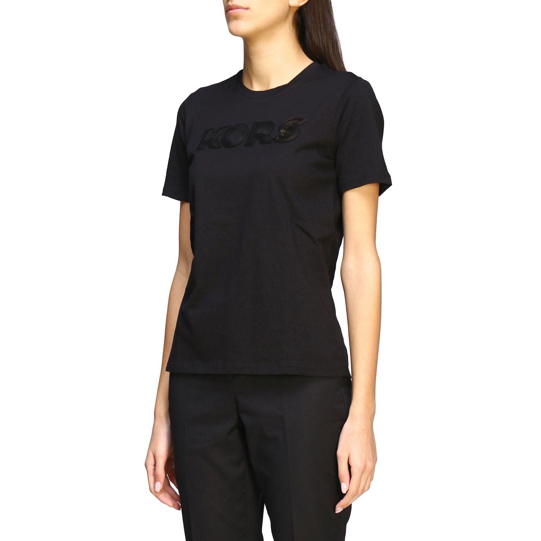T-shirt Michael Michael Kors con logo di paillettes nero 4