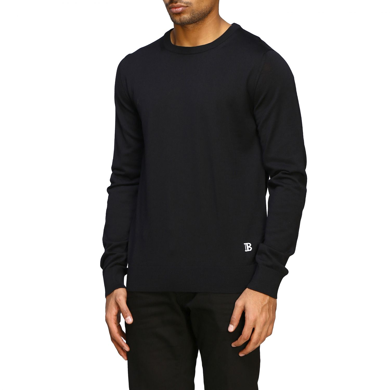 Sweater Balmain: Balmain basic crew neck sweater with mini logo black 4