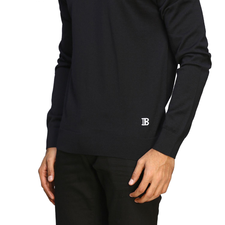 Sweater Balmain: Balmain basic crew neck sweater with mini logo black 5