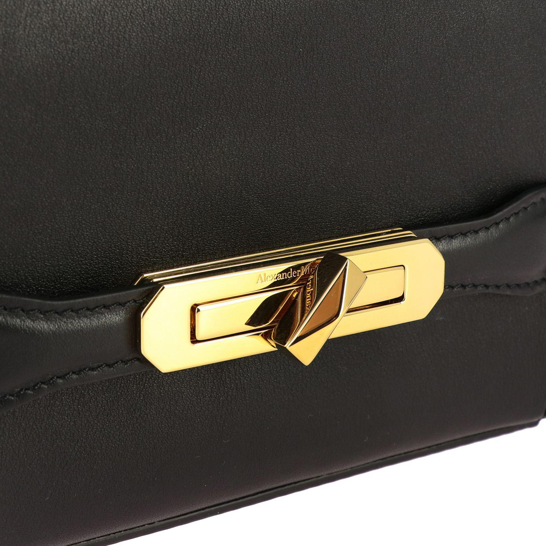 Мини-сумка Alexander Mcqueen: Сумка Mcq Mcqueen из кожи с металлической пряжкой черный 4