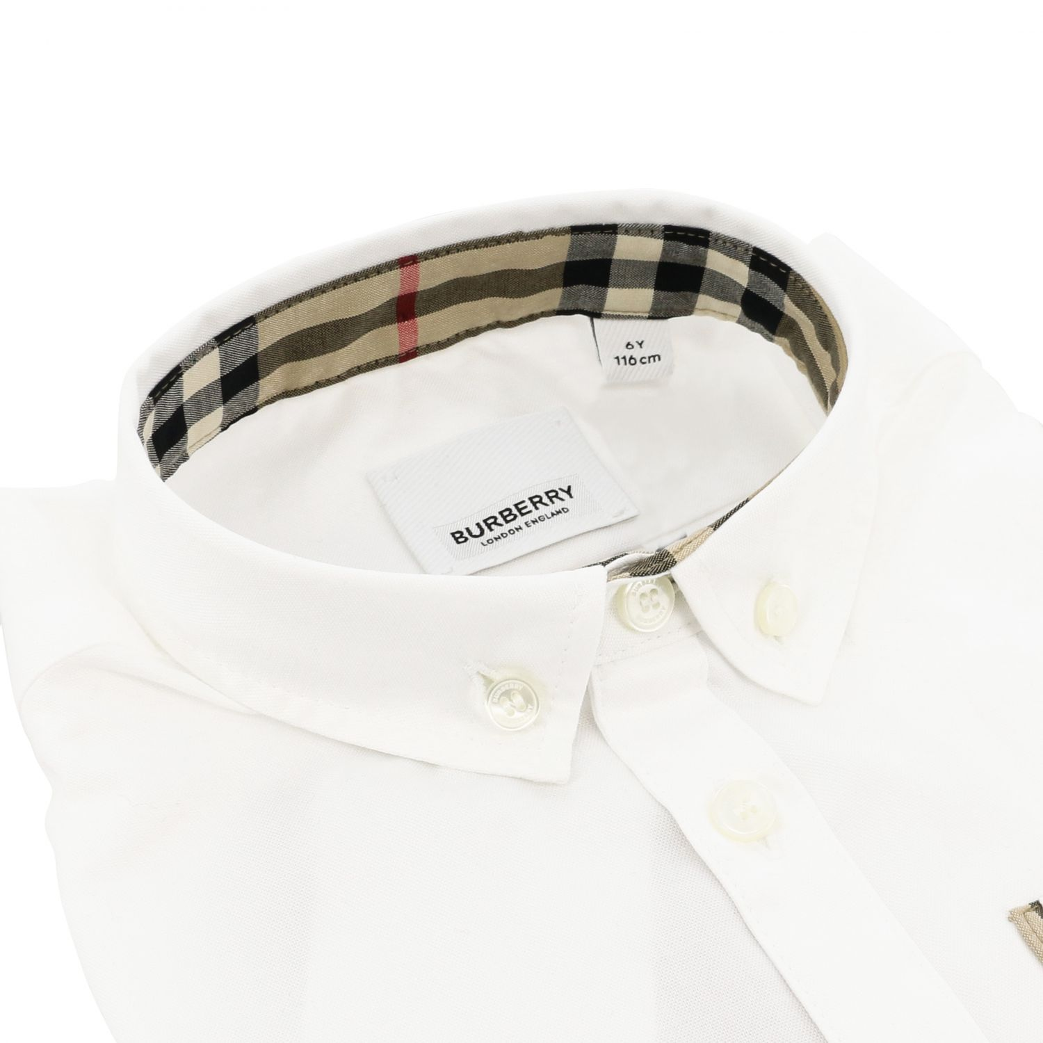 Burberry Oxford shirt in cotton with button-down collar and pocket white 2