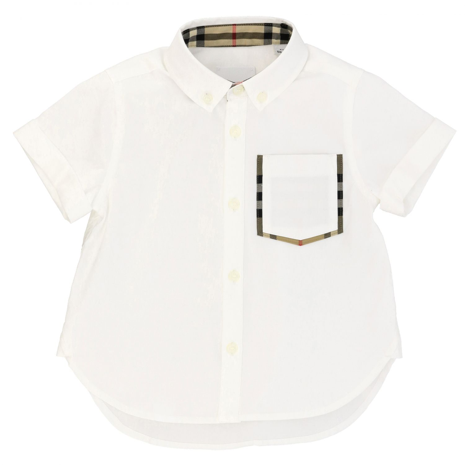 Burberry cotton shirt with button down collar and pocket white 1